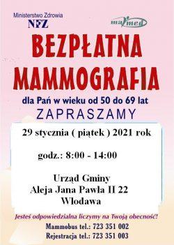 Plakat na bezpłatną mammografię